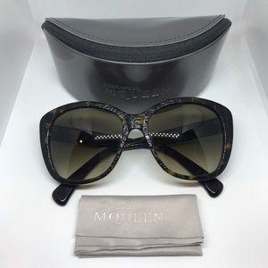 Alexander McQueen Brown Textured Tortoise Glasses